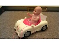 Baby born doll and sports car with sound