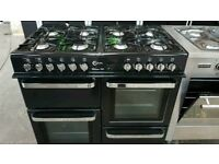 Black A+++ Class Flavel Milano 100cm Wide Gas Range Cooker And New World Hood