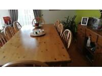 Large pine country table 6chairs 2carvers
