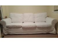 Ikea 3 Seater White Ektorp Sofa