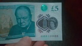 5 pound note AA code