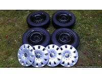 Volkswagen VW Transporter steel wheels, 5x120 bolt ring - t5 and onwards, tyres 2x8mm 2x5mm, VGC