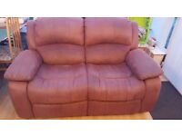 Two Seater Faux Suede Reclining Sofa & Footstool