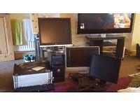 Computer bundle 1 modem, printer, 2 monitors, 1 monitor/ tv, keyboard and wall bracket . Job lot