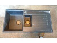Howdens 1.5 Bowl Kitchen Sink - Black Composite