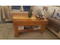 Reclaimed Wood Handmade Coffee Table, Stained and Varnished