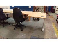 Modern corner desk with black office chair
