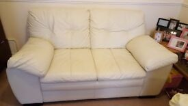 Cream 2 seat leather sofa