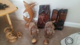 joblot of wood carvings buddas elephants dolphins unwanted