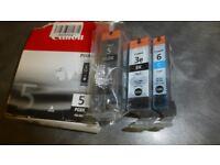 Canon 5PGBK - Canon 3eBK - Canon 6 cyan inkjet cartridges All sealed and unused