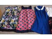 6 different girls dresses. From branded stores M&S, Debenhams, Next. Age 7-9. Worth over £130