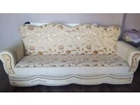 1x Cream Settee Bed- 3 Seater