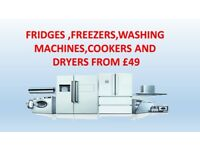 WASHERS,DRYERS ,COOKERS,FRIDGES,FREEZERS,FURNITURE FROM £49