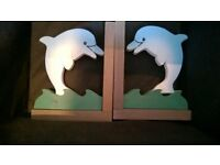 Bundle lot dolphin items 2 large wall hanging & wooden book ends