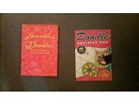 2 doodle drawing books to colour, new never used