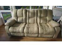 Cream leather 3 seater recliner sofa