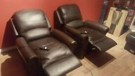 2 Brown leather electric reclining armchairs