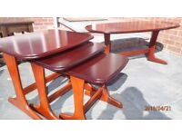 Solid Dark Wood Coffee Table and Matching Nest of Tables