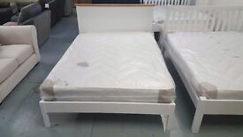JOHN LEWIS DARTON Double Bed Frame Soft White Oak & Mattress can/del View Collect in Kirkby NG17