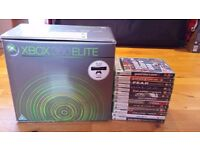 Xbox 360, 2x Controllers, 1x Guitar Hero Controller, 13 Games, Original Packaging