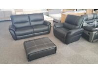 Ex Display SCS Teo Black Leather 3 Seater Sofa, Armchair & Footstool **CAN DELIVER**