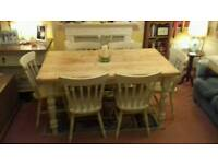 Solid Pine Farmhose Table and six chairs