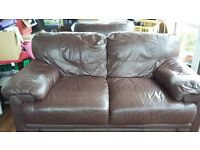 brown leather look 2 seater settee and armchair