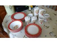 Red floral pattern Crockery Set - ideal for Caravanners'/Camping