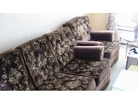 THREE SEATER SETTEE WITH TWO MATCHING CHAIRS