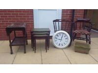 JOB LOT - 2 X Captain Style Chairs, Footstool, Nest of Tables, Fold Down Side Table, Wall Clock