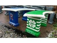 Rangers & Celtic Fc stone garden benches, also Liverpool Man utd