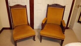 Antique pair of his and hers nursing chairs excellent condition