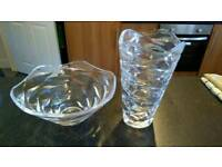 Large glass bowl and varse