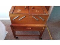 Vintage Wooden Cantilever Sewing Box on wheels
