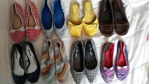 Assorted Flats and Sandals, sizes 9-10