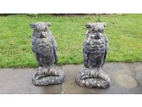 Two stone ornamental Owls