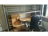 Single bed with desk for free