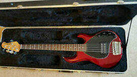 Awesome Musicman Stingray 5 string bass guitar in hard case. Rare colour.