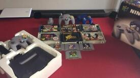 Nintendo 64 N64 Boxed bundle with 10 games plus 3 controllers