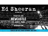 Ed Sheeran tickets, Newcastle 8th June