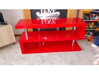 Red gloss tv unit