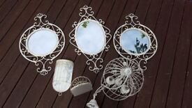 Distressed mirrors ceiling light and tea light holders