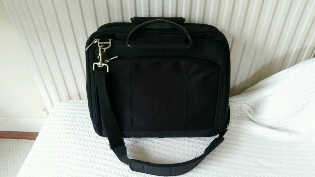 Black laptop briefcase bag with carry and strap handles