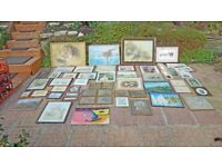 JOB LOT FRAMED PICTURES AND PRINTS WATERCOLOURS , OILS ,