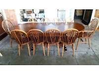 Table and 10 chairs solid oak