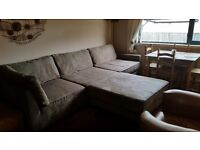 5 seater stone suedette couch with futon