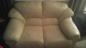 3 and 2 seater cream leather couches