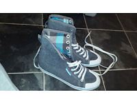 Blue Adidas Original high top fold over trainers- great condition.