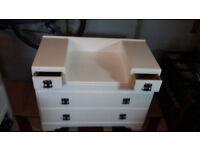 sellers refurbished dressing table in white with black handles