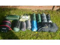 A lot camping gear sleeping bags mats materasses beds, tables, kuchenne cupboards!